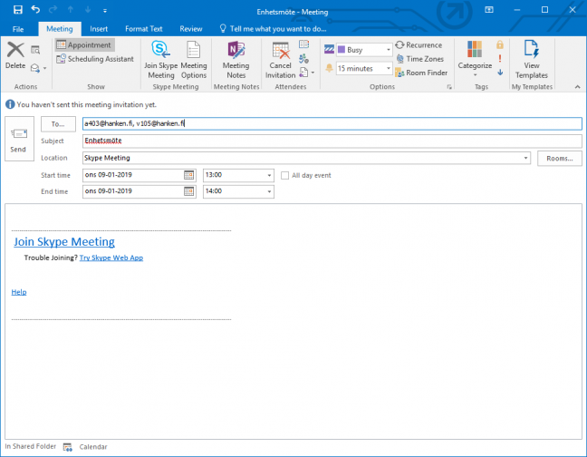 Book a Skype for Business meeting in Outlook