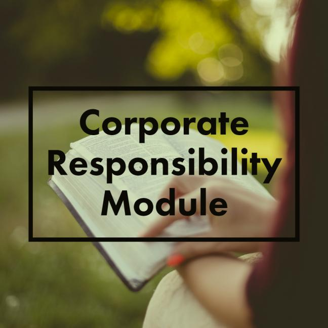 A person reading a book with Corporate responsibility module written on it
