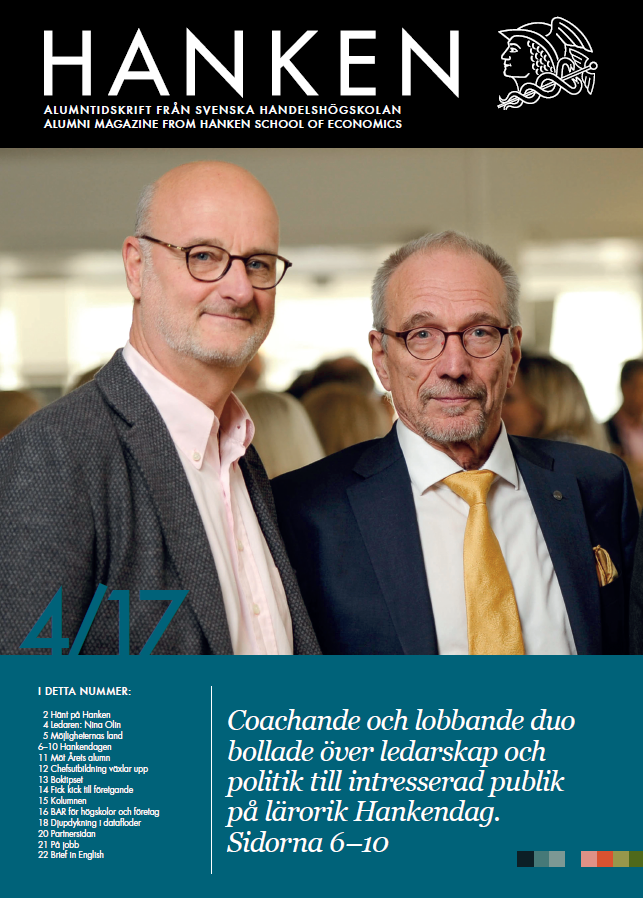 Picture of the front page of the Hanken Magazine with Henrik Dettmann and Nils Thorvalds