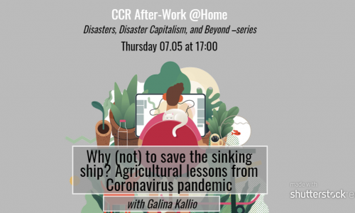 Rectangle format of CCR poster, vector man sitting at desk from back