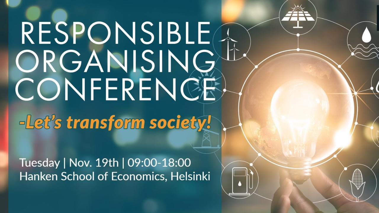 poster of the responsible organising conference 3 with a hand holding a bulb