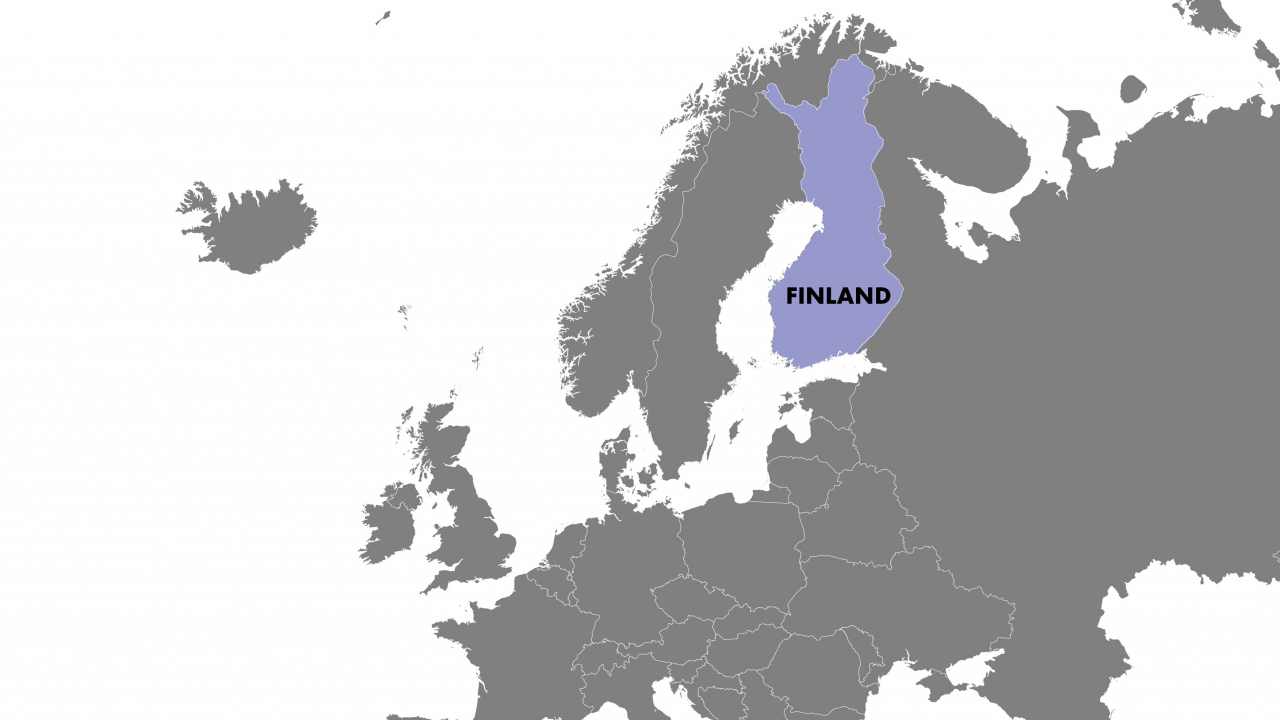 Map showing finland in the EU