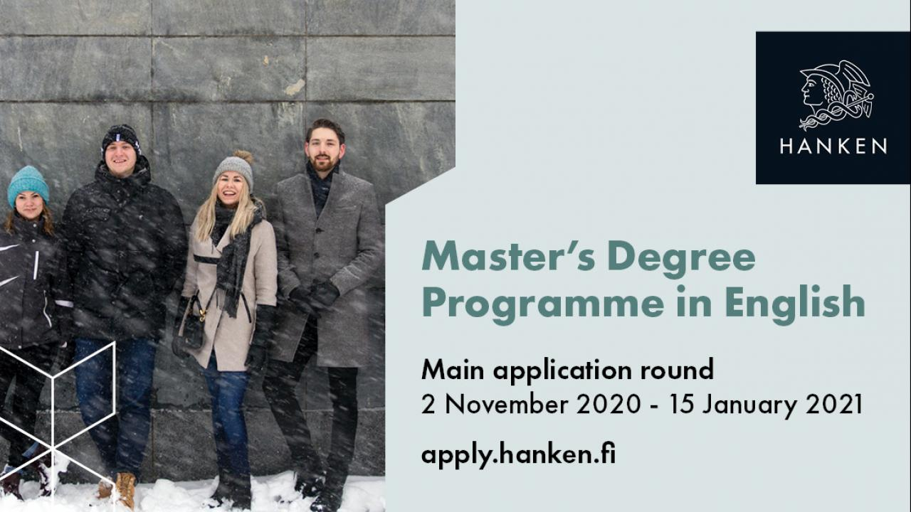 Banner of four students standing next to a wall. Text: Master's Degree Programme in English.